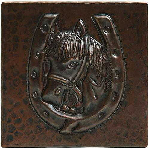 Copper Tile (TL257) Horse in Horseshoe
