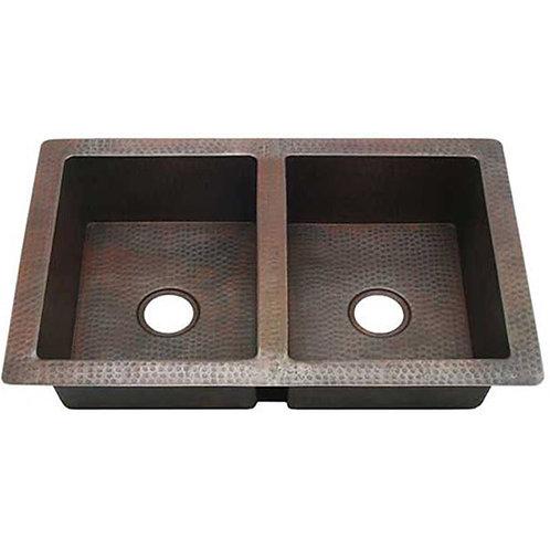 Copper Kitchen Sinks-Double Bowl (KDI-W2-5050)