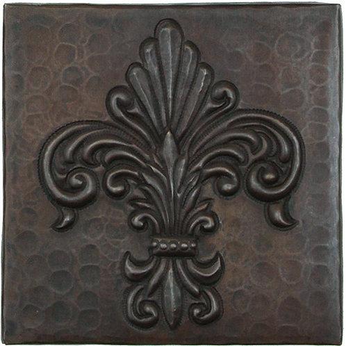 Copper Tile (TL993) Fernale Fleur De Lis Design