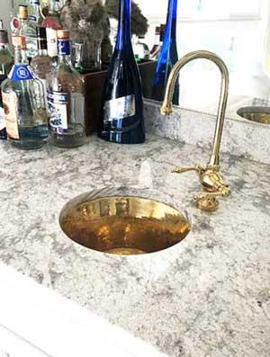 RBV14-BRASS Shiny Brass bar sink