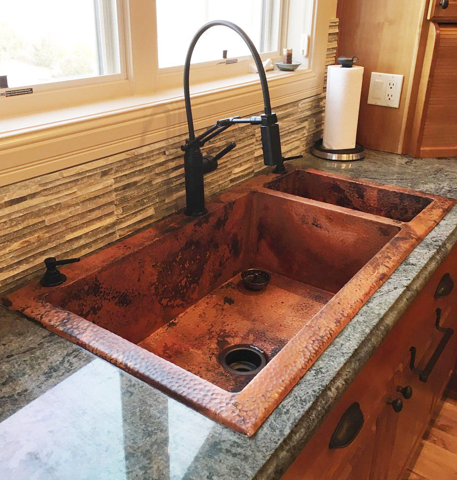 Custom size and color hammered copper sink install