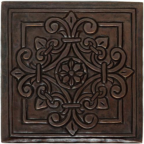 Copper Tile (TL982) Square Fleur Medallion Design