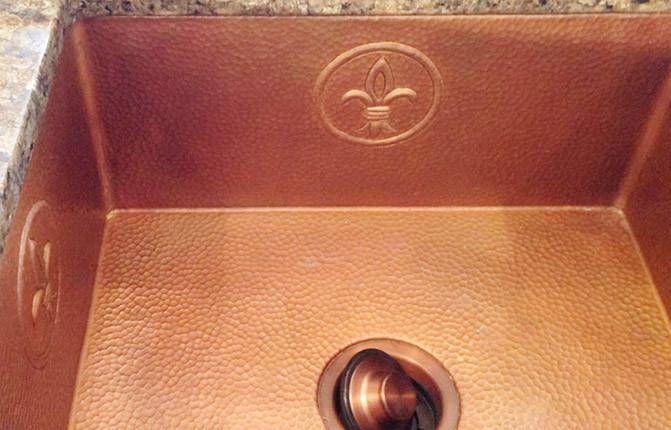 Cafe color custom copper kitchen sink