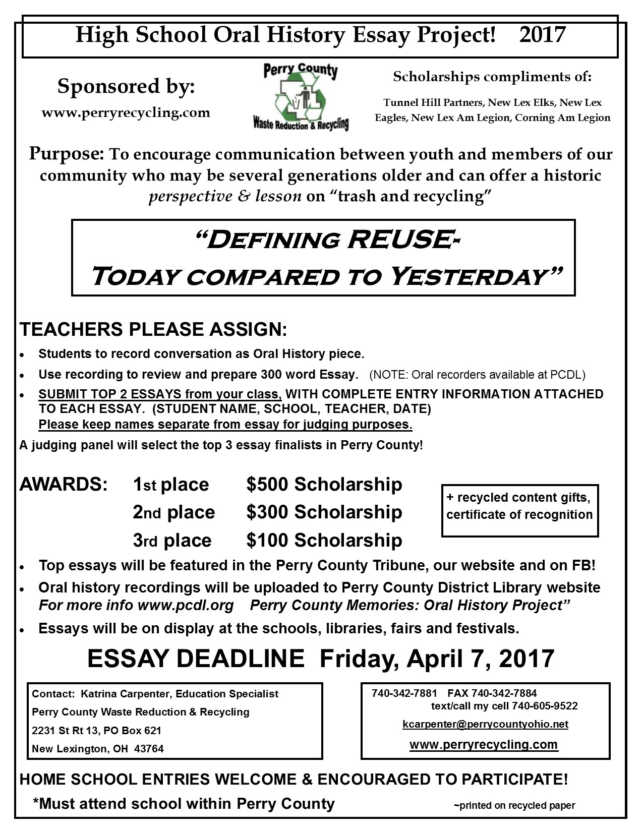 perry county waste reduction and recycling hs essay project