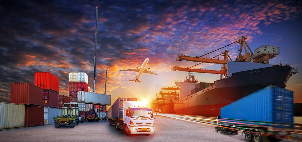 Container truck in ship port for busines