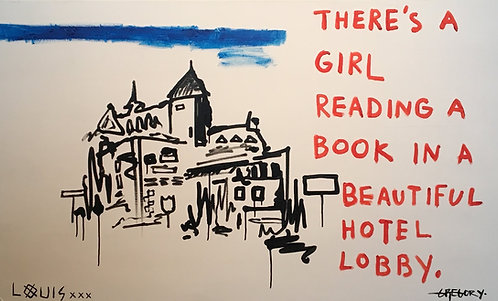 There's A Girl Reading A Book In A Beautiful Hotel Lobby 2018