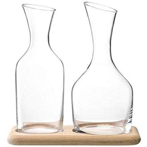 GARDEN BARN Water & Wine Carafe Clear Set with Oak Base