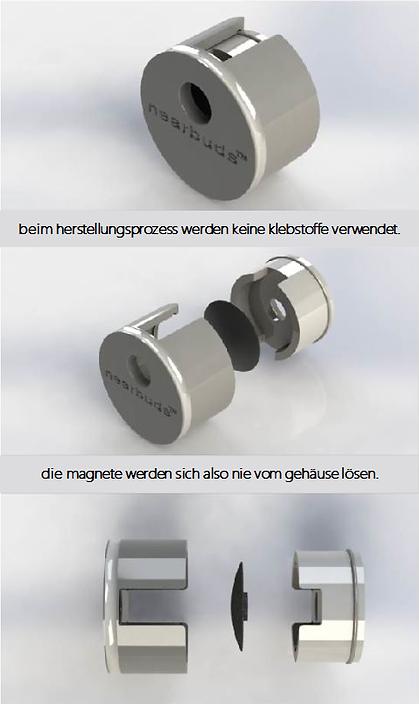 beim herstellungsprozess werden keine klebstoffe verwendet. die magnete werden sich also nie vom gehäuse lösen.
