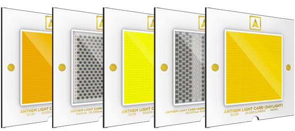 mit nur 1,2mm dicke und 60mm im quadrat und einem gewicht von weniger als 28 gramm sind die anthem light cards anders als jede lichtquelle auf der erde. sie hält bis zu 50.000 stunden und ist damit die langlebigste lichtquelle aller zeiten. die karte kann in weniger als 30 sekunden aus dem gerät getauscht werden.  anthem lichtkarten können speziell für cri, farbtemperatur, lichtstrom, em-wellenlänge und strahlungsleistung kalibriert werden. die erlaubt dir, die richtige anthem light karte für deine spezifische industrie auszuwählen.
