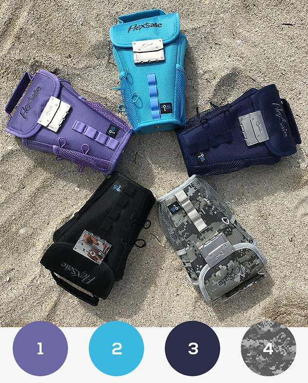 flexsafe soll überall hin mitgenommen werden und deshalb perfekt zu deinem style passen. aus diesem grund kommt das gadget in 4 neuen farben: navy blue, lavender, aqua blue und digi camo.