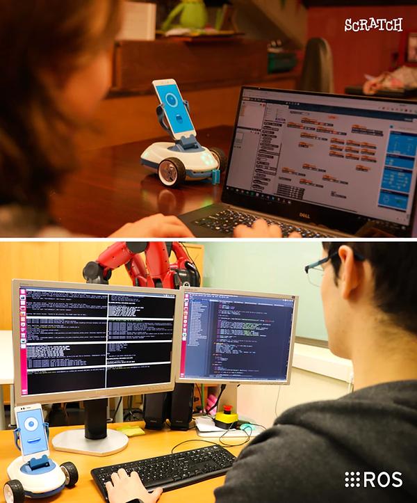 jede der technologien des robobokönnen unabhängig von deinen programmierfähigkeiten verwendet werden. du kannst von block-basierter programmierung mit scratch bis hin zu sprachen für fortgeschrittene (ros – robot operating system) alles verwenden.