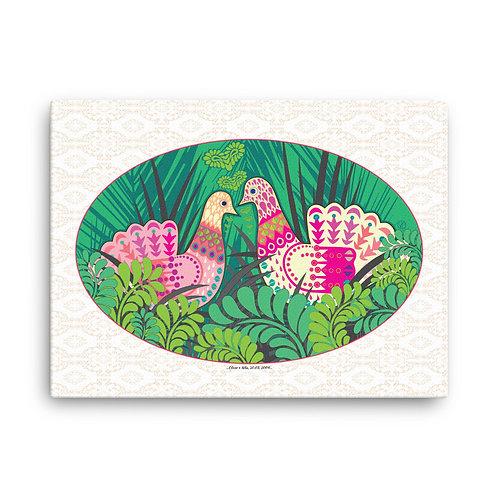 Canvas Print - Wedding Poster - Doves Green