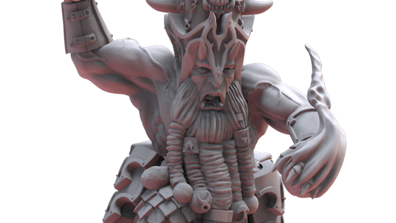 Chaos Dwarf Sorceror Prophet- Resin Miniature- Legion of Azgorh