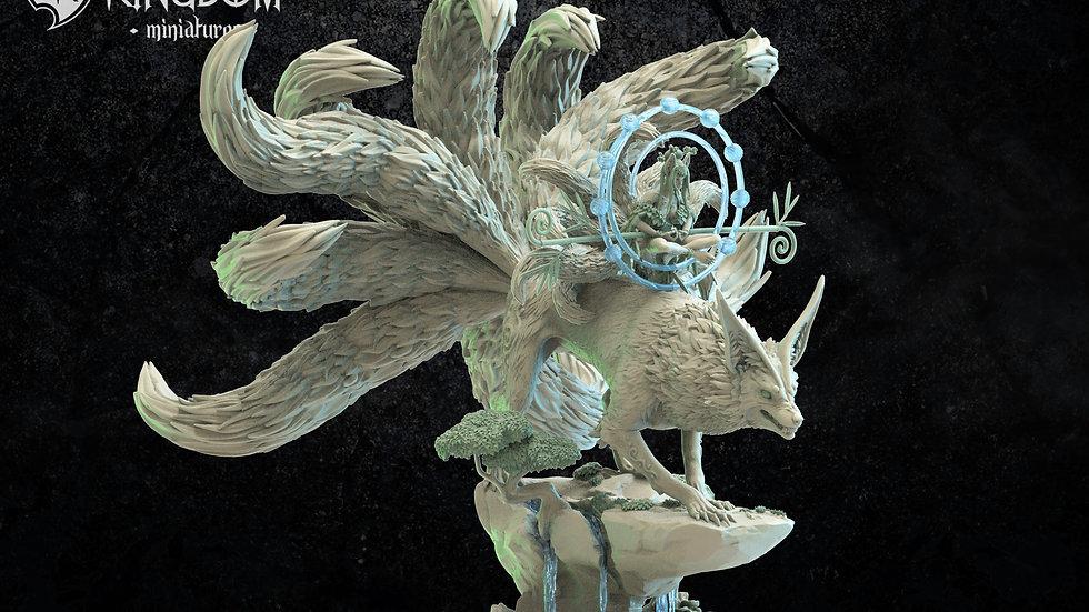 Kitsune Druid riding spirit Fox Mori wood Elf Resin Manticore