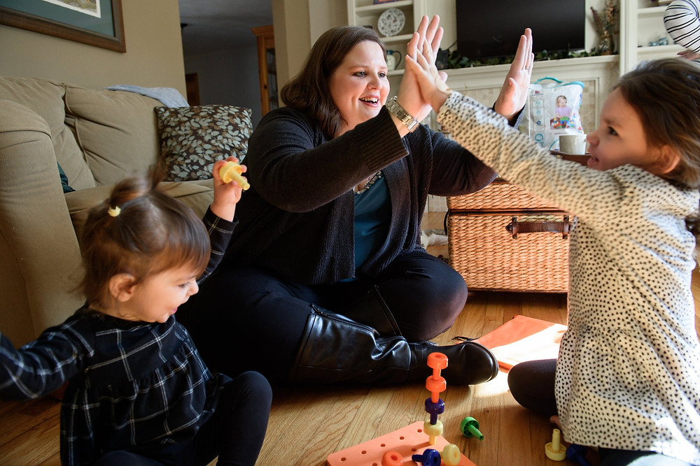 Stephanie Hathaway with her daughters Brenley, left, and Hadley, in South Windsor, Conn.