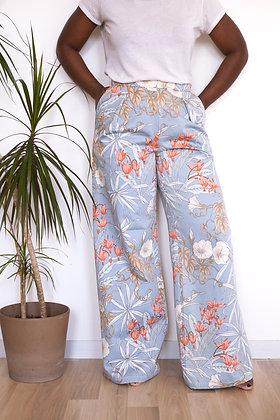 Pantalon Somptueux patchwork bleu fleurs