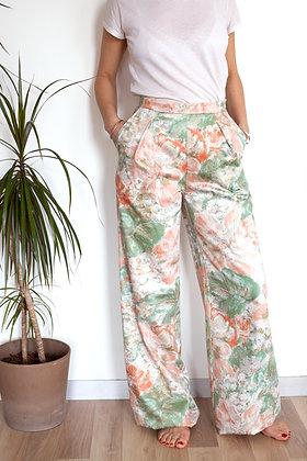 Pantalon Somptueux blanc fleurs