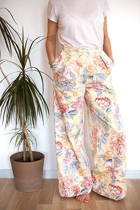 Pantalon Somptueux jaune fleurs
