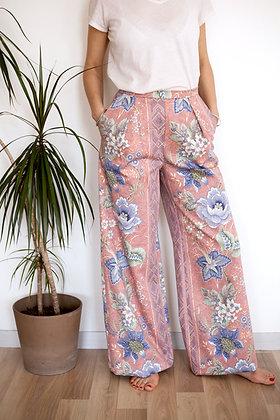 Pantalon Somptueux rose fleurs