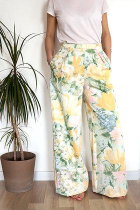 Pantalon Somptueux vert fleurs