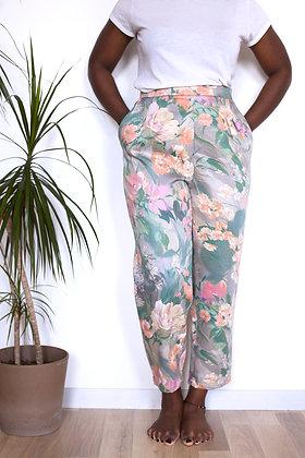 Pantalon Sublime gris fleurs