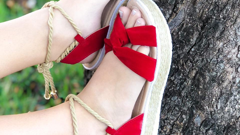 Sandália Feminina Vermelha Sola Corda