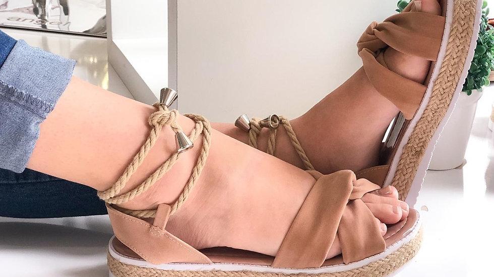 Sandália Feminina Nude Bege Sola Corda