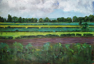 Looking towards the white horse mixed media painting fields trees blues greens burgundies