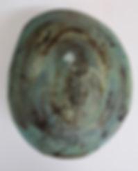 Colourful ceramic enclosed form sculpture, black clay hand built,sgraffito,engobe,