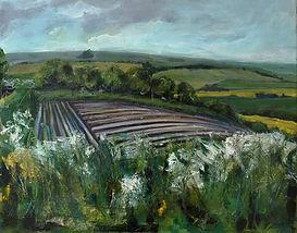 Nunnington Bank howardian hills greens reds yellows mixed media painting