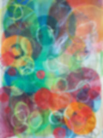 Colourful, vibrant contemporary artmixed media on translucent velum.