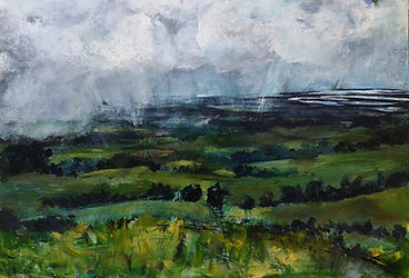 Across to the Sea blues greens stormy sky the trundle west sussex