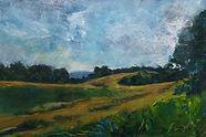 lavant walk late summer landscape mixed media greens blues yellows
