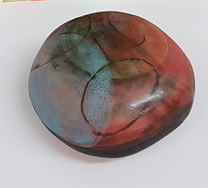 circles enclosed form 1, black clay, engobe, sgraffito partially glazed with a polished wax finish