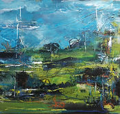Hardwired mixed media landscape painting blues and greenspainting