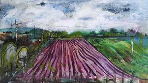 ploughed fiield blues greens burgundies mixed media landscape