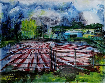 100 Acre Farm landscape painting in mixed media of a ploughed field