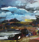 puddles mixed media impressionis landscape painting blues browns turner sky