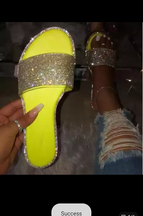 Green Rhinestone Slides