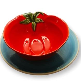 """Loça para entradas """"Tomate e prato azul"""""""