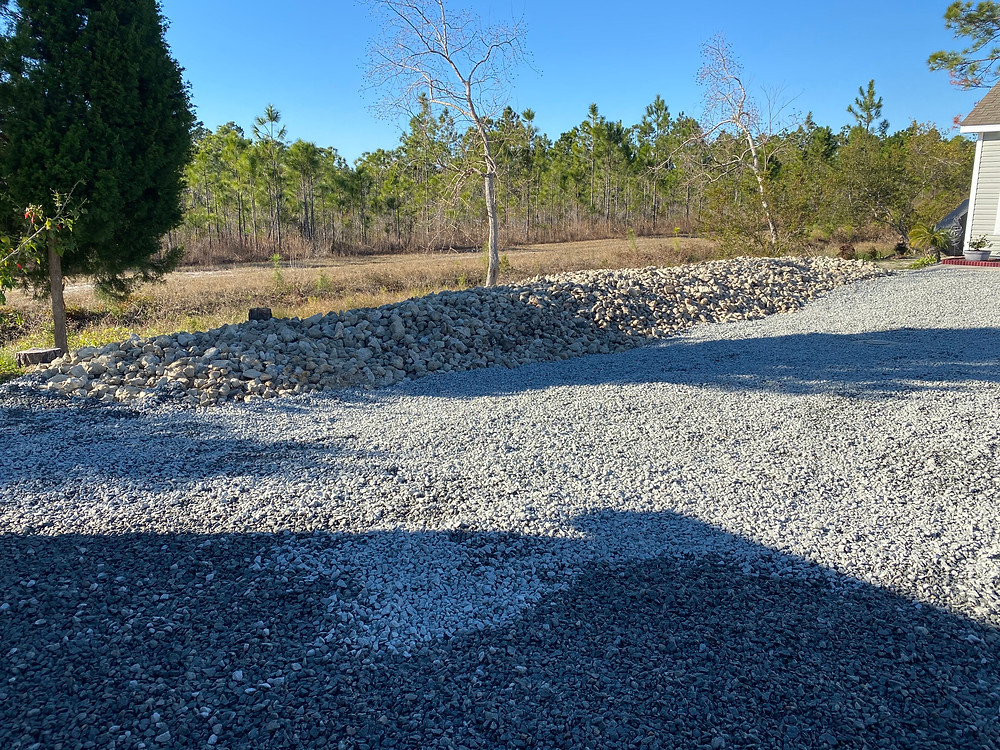 Rocks for retaining wall and parking area
