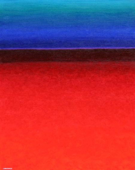 Paysage rouge aux complémentaires