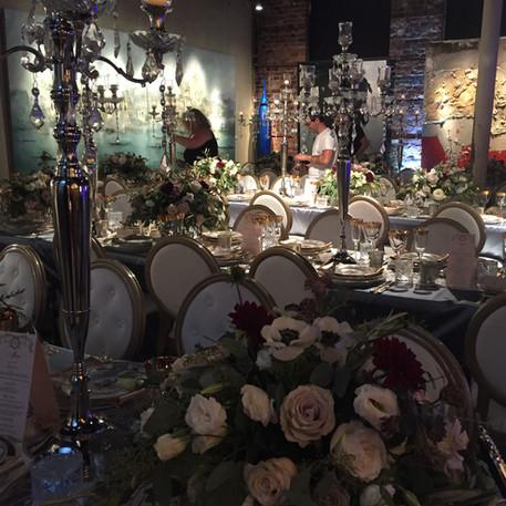 #14 Rental Silver Nickle Candelabra And Low Rental Floral Centrepiece