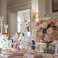 #19 Rental Low Mercury Vase And Floral Centrepiece