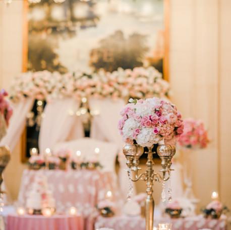 #27 Rental Gold Brass Candelabra And Floral Centrepiece