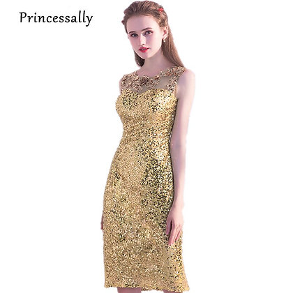 Gold Sequinned Bridesmaid Dresses Knee Length