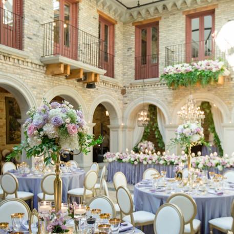 #26 Rental Gold Brass Candelabra And Rental Floral Centrepiece