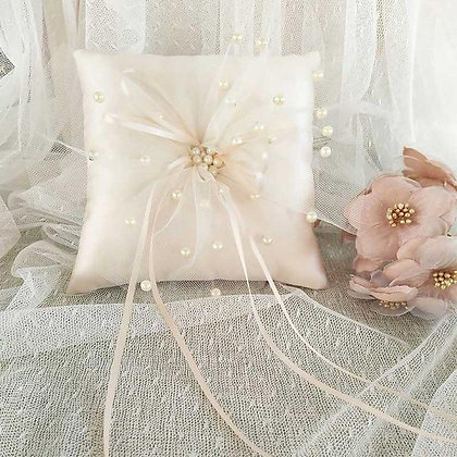Premium Champagne Wedding Ring Pillow 15x15cm