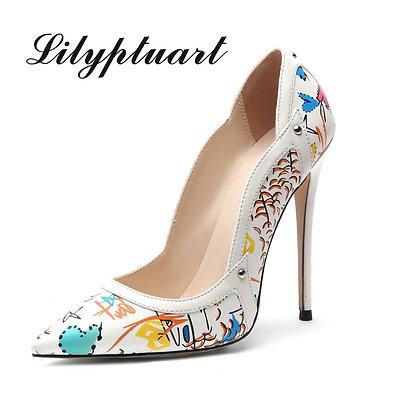 Women's High Heel Shoes Graffiti Pointed #10