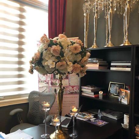 #24 Rental Gold Brass Candelabra And Floral Centrepiece